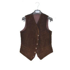 Unknown corduroy button down vest brown sz S